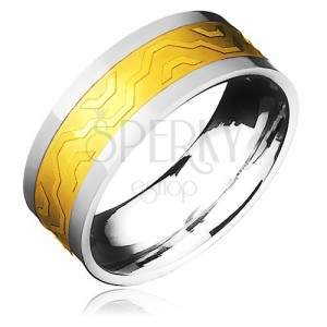 Dvoubarevný ocelový prstýnek - zlatý pás s hranatou konturou vlny