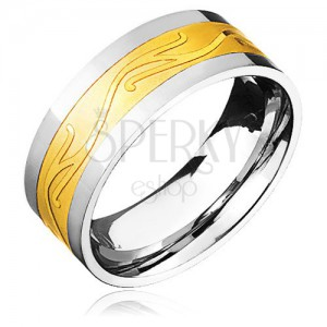 Ocelový prsten - zlato-stříbrný se zvlněným ornamentem