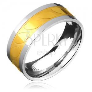 Prsten z oceli - zlato-stříbrný, motiv šikmých oválů