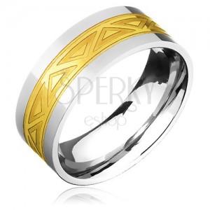 Dvoubarevný ocelový prsten - zlatý pás s motivem trojúhelníků