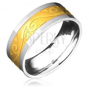 Ocelový prsten - zlato-stříbrný s motivem spirál ve vlnce