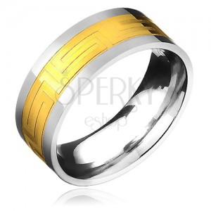 Prsten z chirurgické oceli - zlatavý pás a řecký motiv
