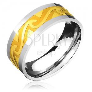 Dvoubarevný ocelový prsten - zlatý pás, motiv bouřlivých vln