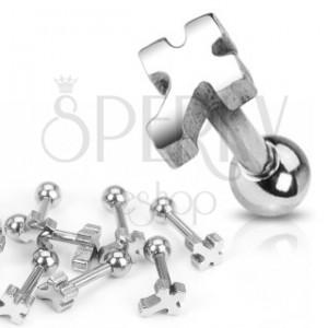 Piercing do ucha z chirurgické oceli - hladký kříž