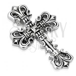 Mohutný ocelový přívěsek - dekorovaný kříž s patinou