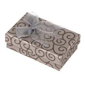 Šedá krabička na šperky s točeným vzorem a lesklou mašlí