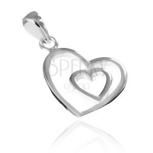 Stříbrný přívěsek 925 - silueta srdíčka ve větším srdci