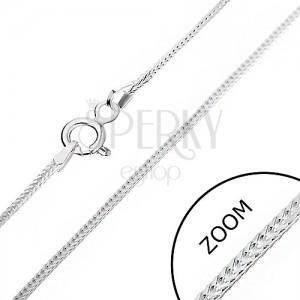 Stříbrný řetízek 925 - hranatá linie oček, 1 mm