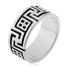 Prsten ze stříbra 925 - hranatá spirála a okénko s patinou H16.19
