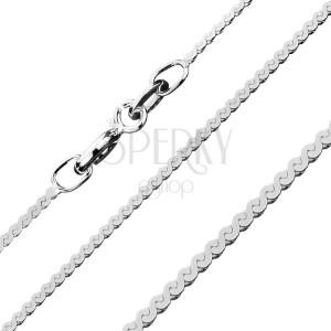 Plochý stříbrný řetízek 925 - pás esovitých článků, 1,1 mm