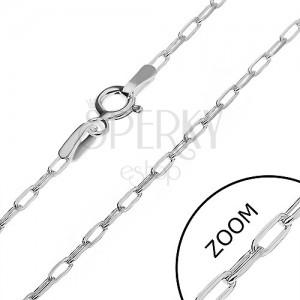 Stříbrný řetízek 925 - lesklé hladké obdélníky, 2 mm