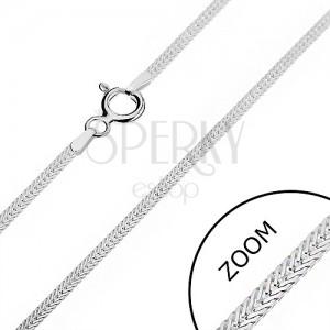 Stříbrný řetízek 925 - zploštělá, šikmo uložená očka, 1,6 mm