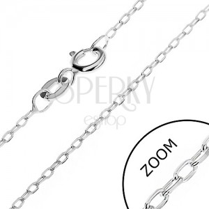 Řetízek ze stříbra 925 - hladké kolmo uchycené ovály, 1,5 mm