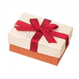 Krabička na prstýnky - béžovo-bronzová s bordó stuhou