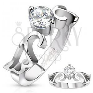 Zásnubní prsten z oceli s čirým zirkonem a výřezem křídel