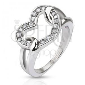 Ocelový prsten - lesklé zirkonové srdce ve smyčkách