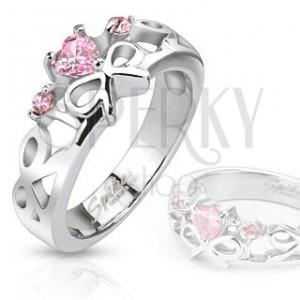 Prsten z chirurgické oceli - vyřezávané mašličky, růžové zirkony