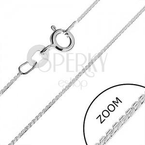 Řetízek ze stříbra 925 - šikmá zaoblená očka v linii, 0,8 mm