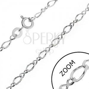 Stříbrný řetízek 925 - zkosená malá a velká zatočená očka, 3 mm