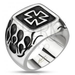 Pečetní prsten z oceli - keltský kříž s plameny a patinou