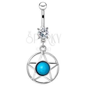 Ocelový piercing do bříška - hvězda v kruhu s modrým kamenem