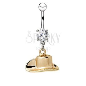 Ocelový piercing do pupíku - kovbojský klobouk ve zlaté barvě