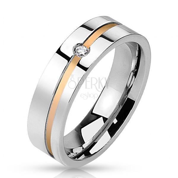 Ocelový prsten - zlatý pruh se zirkonem