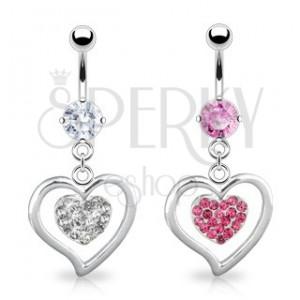 Piercing ocelové srdce a menší vykládané zirkony