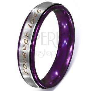 Stříbrný prsten z oceli - text Forever Love, fialové okraje