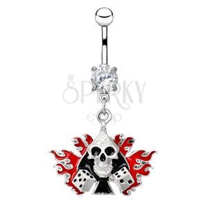 Ocelový piercing do bříška - lebka s kostkami v plamenech
