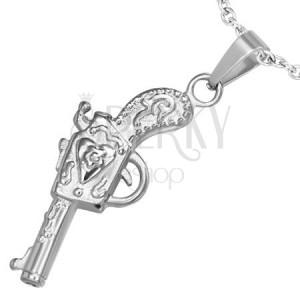 Přívěsek z chirurgické oceli - pistole dekorovaná ornamenty