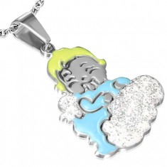Lesklý ocelový přívěsek - anděl dítěte na třpytivém obláčku AA29.03