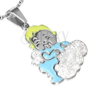 Lesklý ocelový přívěsek - anděl dítěte na třpytivém obláčku