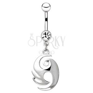 Ocelový piercing do pupíku - ornament s výběžky a spirálou