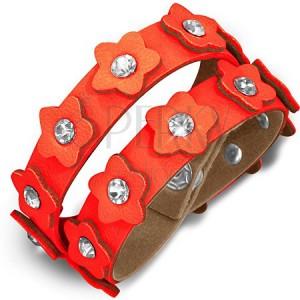 Oranžový kožený náramek - pás s květinkami a zirkony