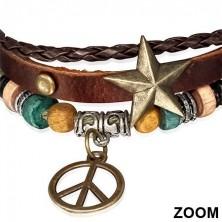 Multi náramek - pás s hvězdou, pletenec, šňůrka a symbol míru