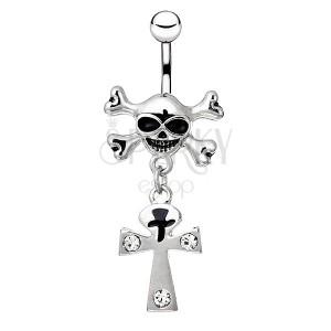 Ocelový piercing do bříška - lebka s hnáty, kříž se zirkony