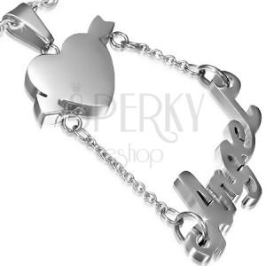 Přívěsek z chirurgické oceli - srdce a nápis Angel na řetízcích