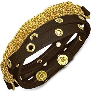 Kožený náramek - hnědý pás s kováním a zlatými řetízky