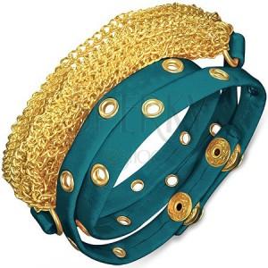 Náramek z kůže - kovaný modrý pás a zlaté řetízky