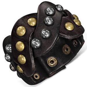 Kožený náramek - hnědé kované zapletené pásy
