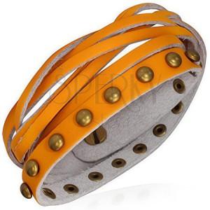 Kožený náramek - oranžové pásky, zlaté polokoule a pletenec