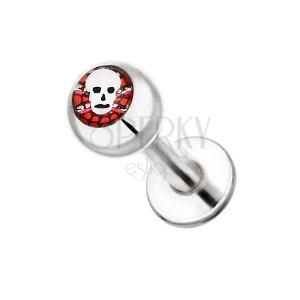 Ocelový piercing do brady - lebka na červeném pozadí