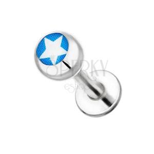 Labret z chirurgické oceli - bílá hvězda na modrém podkladu