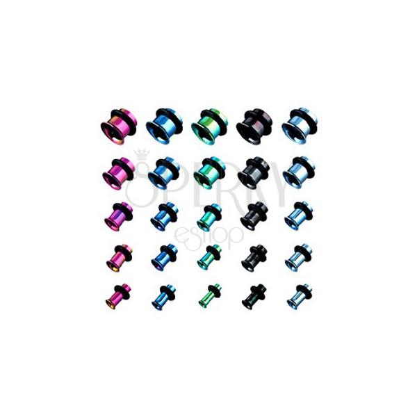 Piersing - tunel do ucha z titanu, anodizovaný, více barev s gumičkou