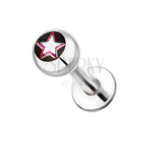 Ocelový piercing do brady - hvězda s barevným okrajem