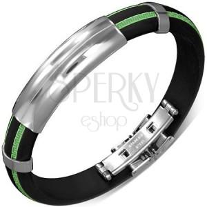Černý náramek z gumy - vzorované zelené pásy, hladká známka