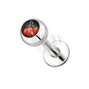 Piercing do brady z oceli - motiv třešní v kuličce