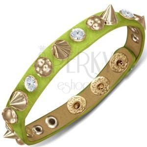 Kožený náramek - zelený proužek s polokoulemi, hroty a zirkony