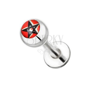 Piercing z oceli do brady - černý pentagram na červeném pozadí